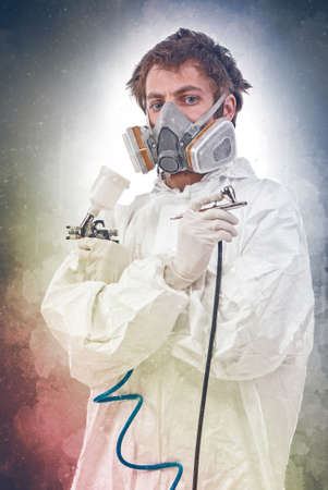 airbrush: Worker with airbrush gun, on a colored background