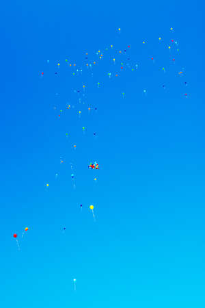 a lot of colorful balloons in blue sky Stock Photo