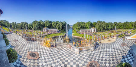 petergof: Peterhof, Russia, kings palace and fountain grand cascade, surroundings of St. Petersburg. Editorial