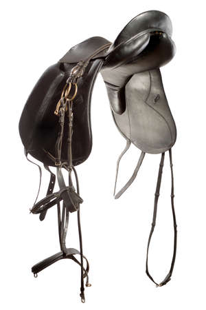 stirrup: saddle for horse from leather isolated on white