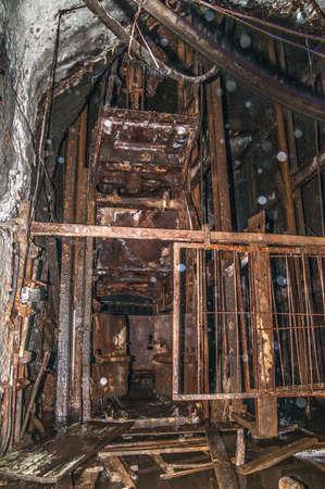 old abandoned coal mine tunnel Stock Photo