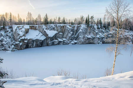 Marble kanyon in Ruskeala, Karelia in winter, Russia