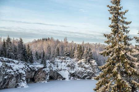 Marble kanyon in Ruskeala, Karelia in winter, Russia