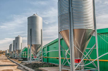 agricultural large industrial factory farm Stock Photo