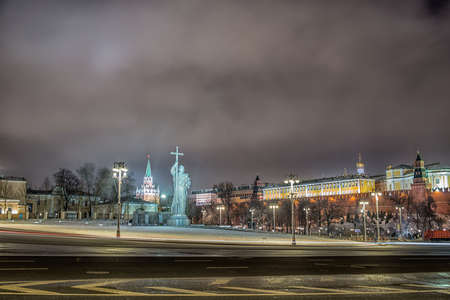 Monument of Vladimir. Moscow Kremlin in winter night. Russia Stok Fotoğraf - 82800935