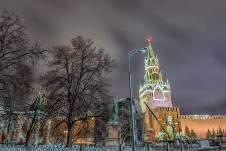 Russia, Moscow, Red Square, Kremlin, Heart of Russia, Chiming clock, Spasskaya Tower Stock Photo