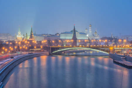 Sunrise view of Moscow Kremlin and Moscow River in Moscow, Russia. Moscow architecture and landmark, Moscow cityscape