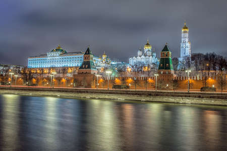 Russia, Moscow, night view of the Moskva River, Bridge and the Kremlin Reklamní fotografie