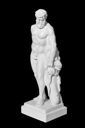 Classic marble statue of a man on a black background Archivio Fotografico