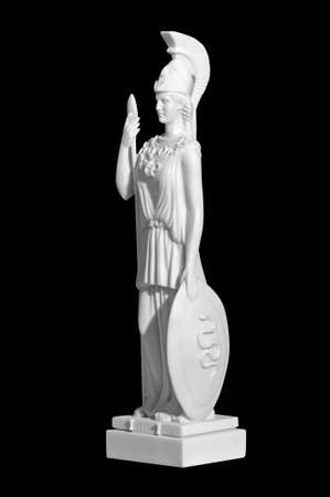 Antique statue of a woman with a shield