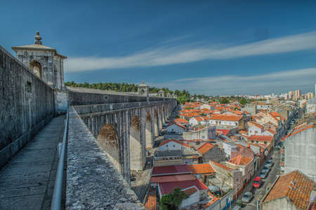 historic aqueduct in the city of Lisbon built in 18th century, Portugal Stock Photo