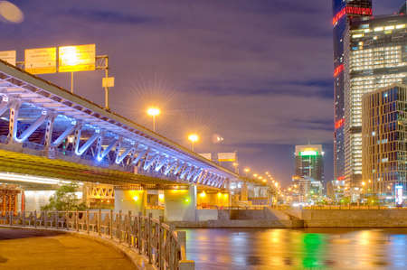 Moscow business district, bridge over the river. The Russian Federation. Archivio Fotografico - 150281157