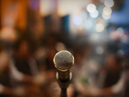 karaoke: Close up of microphone in concert hall or conference room