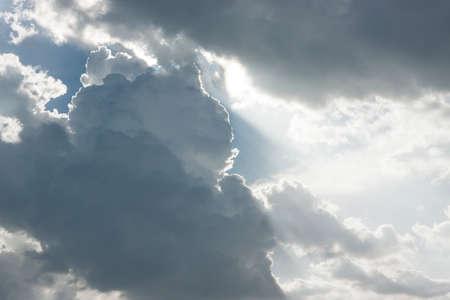 blue sky with clouds closeup Stock Photo
