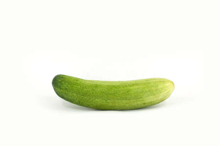 ripened: A fresh and tasty green vine ripened garden grown cucumber isolated on white