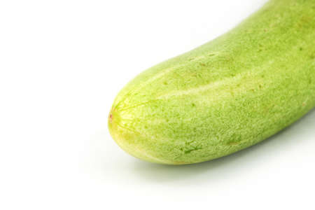 A fresh and tasty green vine ripened garden grown cucumber isolated on white