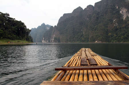 Bamboo rafting in Khao Sok National Park, Thailand photo