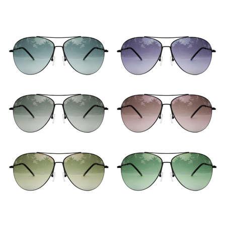 Aviator sunglasses set multicolored isolated on white background, Classic sunglasses, sunglasses set, multicolored photo