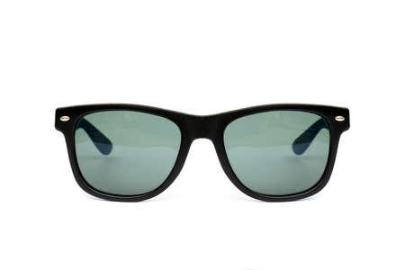 wayfarer: Sunglasses wayfarer shape isolated on white background, Modern sunglasses, Stems, Blue, Green, Stock Photo