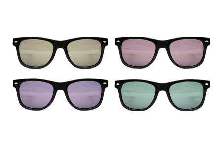 wayfarer: Sunglasses set  wayfarer shape multicolored  isolated  No Stems Stock Photo
