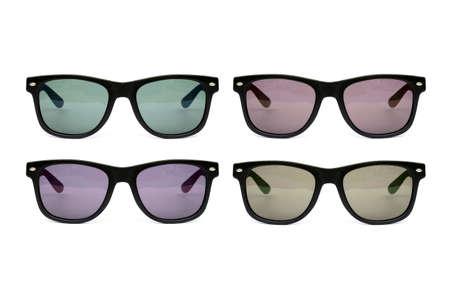 wayfarer: Sunglasses set  wayfarer shape multicolored  isolated  Stems