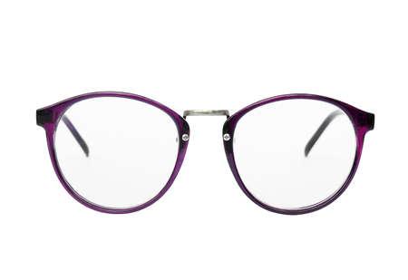nerd glasses: Nerd glasses isolated on white background, Classic eyeglasses, Vintage eyeglasses, violet, purple Stock Photo