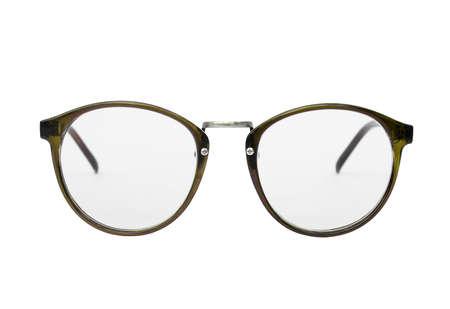 nerd glasses: Nerd glasses isolated on white background, Classic eyeglasses, Vintage eyeglasses, Green Stock Photo