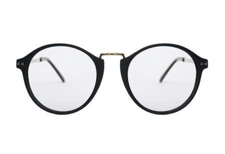nerd glasses: Nerd glasses isolated on white background, Classic eyeglasses, Vintage eyeglasses, Black Frame  Stock Photo