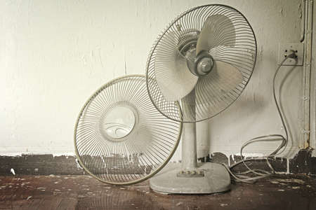 ceiling fan: Dirty on old electric fan,Old electric fan, Cooling fan, Electric fan in hot weather  Process in warm tone color  Stock Photo