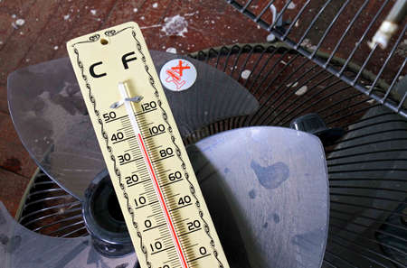high scale: Hot weather, Thermometer on old electric fan, Thermometer in high temperature,  Temperature scale