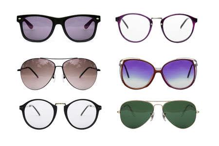 Eyeglasses collection isolated on white background, Sunglasses photo set. Stock Photo