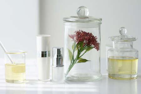 自然の美しさの製品コンセプトは、化粧品、化粧品のボトル容器のための化学、モックアップをブランディングのための空白のラベルを策定します