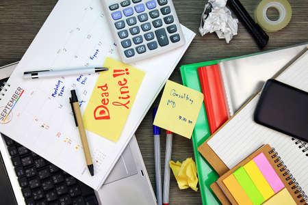 appointing: Business dead line, Calender planner organization management remind concept. Business office desk cover with a lot of documents and supplies. Office busy day. Stock Photo