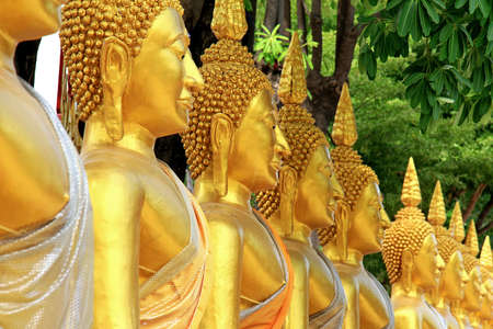 Golden buddha in temple, Row of Golden Buddha statue in Thailand. Stock Photo