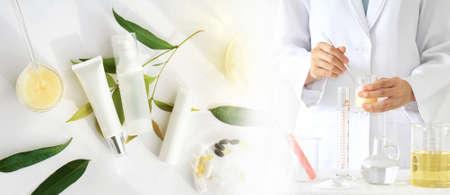 자연 뷰티 제품 개념, 의사 및 의학 실험, 약사 화장품, 화장품 병 용기, 브랜딩 모의 - 업에 대 한 빈 레이블 화장품을 공식화.