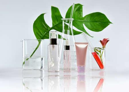 Kosmetische flescontainers met groene kruidenblaadjes en wetenschappelijk glaswerk, Blanco etiketpakket voor branding mock-up, Onderzoek en ontwikkelen natuurlijk organisch schoonheidsverzorging productconcept.