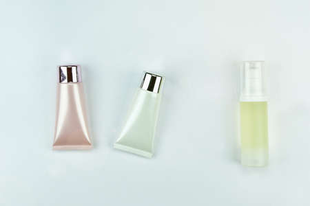 Cosmetic bottle container on white background, Blank label for branding mock-up.