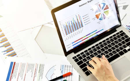 Business summary report and strategy planning, Business women review data documents, Business chart and graph analyzing. 스톡 콘텐츠