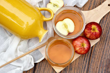 Kombucha tea, Scoby and fermented apple fruit drink, Probiotics food source to improve good digestion system, Healthy superfood.
