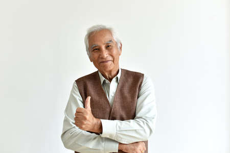 Asian senior old man, Confident and smiling elderly people showing thumb up, Happy retiree citizen concept.