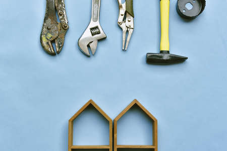 Home improvement and renovation concept, Construction tool, DIY instrument on pastel color background.