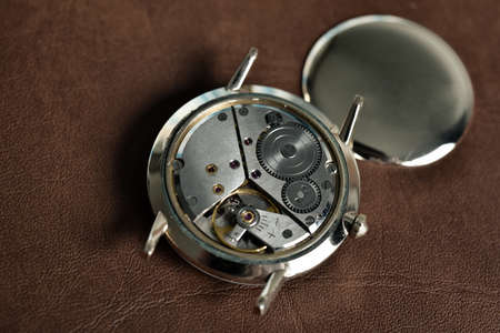 Vintage classic watch mechanism, A pair of mechanical watch, Wristwatches movements close up. Stock Photo