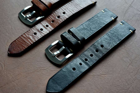 Watch straps, Genuine handcraft italian calfskin leather with white top stitching, Group of stylish wristwatch straps, Men fashion and accessories. Stock Photo