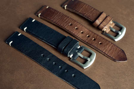 Watch straps, Genuine handcraft italian calfskin leather with white top stitching, Group of stylish wristwatch straps, Men fashion and accessories. Imagens