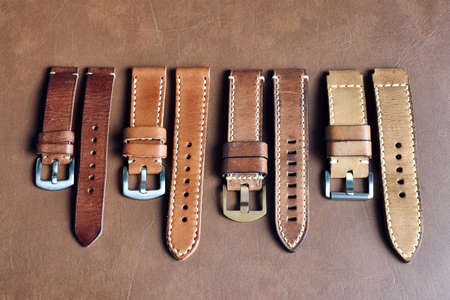 Watch straps, Genuine handcraft italian calfskin leather with white top stitching, Group of stylish wristwatch straps, Men fashion and accessories. Stock fotó