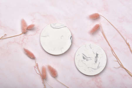 Product display flat lay for mock up presentation, Pink Marble background with luxury lifestyle use for skincare or cosmetics, Prop stand show sale products.