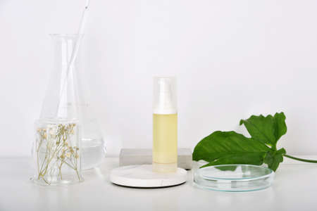 Natural skincare beauty products researching lab, Natural organic botany extraction and scientific laboratory glassware, Blank label cosmetic container for branding mock-up.