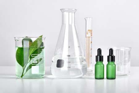 Natural skincare beauty product research, Organic botany extraction in scientific glassware at science laboratory, Blank cosmetic bottle container for branding mock-up. 免版税图像