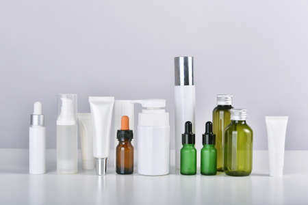 Set of skincare and cosmetic bottle container isolated on white background, Blank label for branding mock-up. Imagens