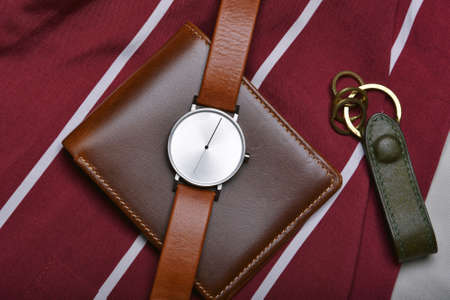 Men fashion and accessories, Wrist watch with brown leather strap, Stylish men stuff, Fashion watch with wallet and belt. Imagens